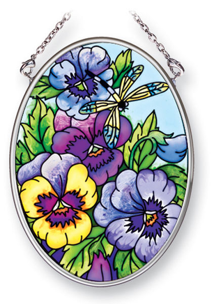 Amia 41457 Blue Pansies Small Oval Suncatcher