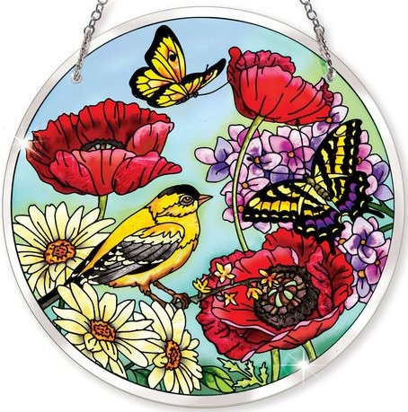 Amia 41565 Parade of Poppies Large Circle Suncatcher
