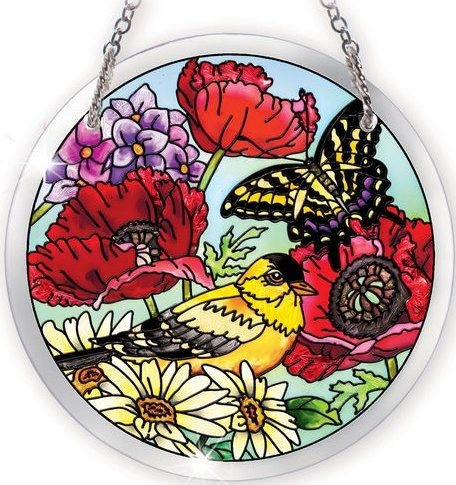 Special Sale 41566i AMIA 41566 Parade of Poppies Medium Circle Suncatcher