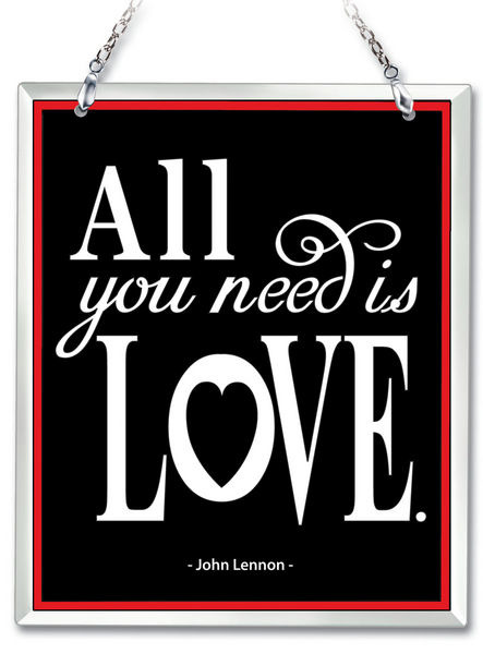 Amia 41638 All You Need Is Love Beveled Glass Rectangle Suncatcher