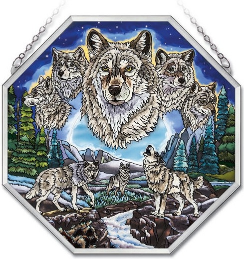 Amia 41729 Wolves Beveled Medium Octagon Panel