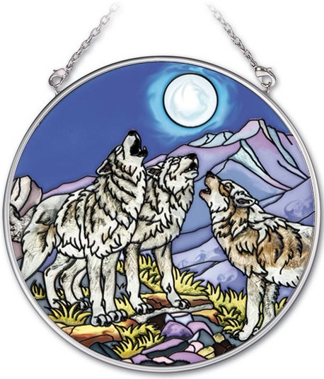 Amia 41731 Wolf Pack Medium Circle Suncatcher