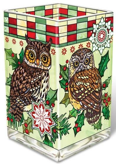 Amia 41774 Christmas Owls Rectangular Vase Votive Holder