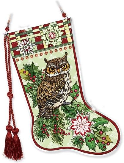 Amia 41780 Christmas Owls Stocking Suncatcher