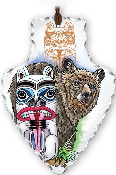 Amia 41836 Totem Pole Bear Large Arrowhead Suncatcher