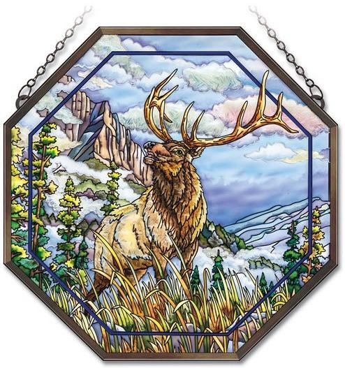 Amia 41843 High Mountain Elk Beveled Medium Octagon Panel
