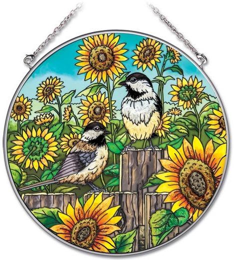 Amia 41901 Chickadee & Sunflowers Large Circle Suncatcher