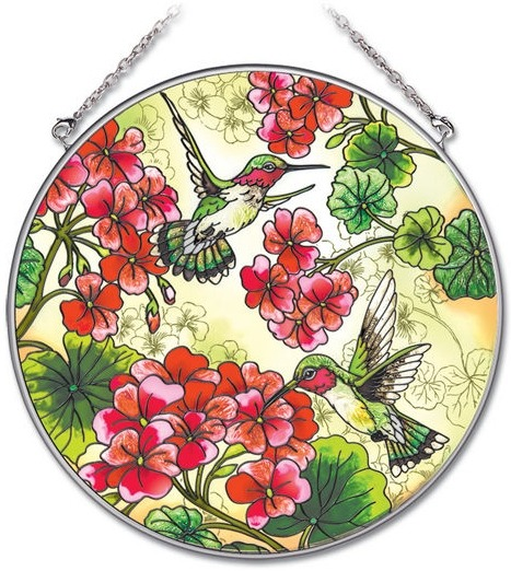Amia 41902 Geraniums & Hummingbirds Large Circle Suncatcher