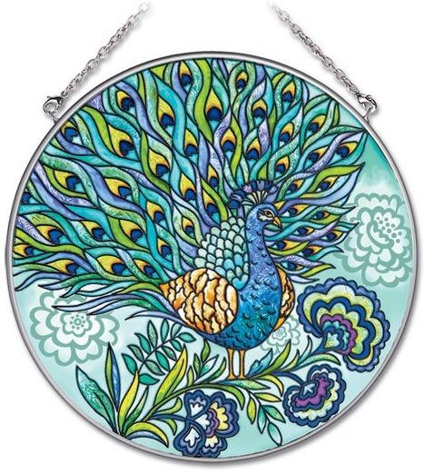 Amia 41904 Peacock Large Circle Suncatcher