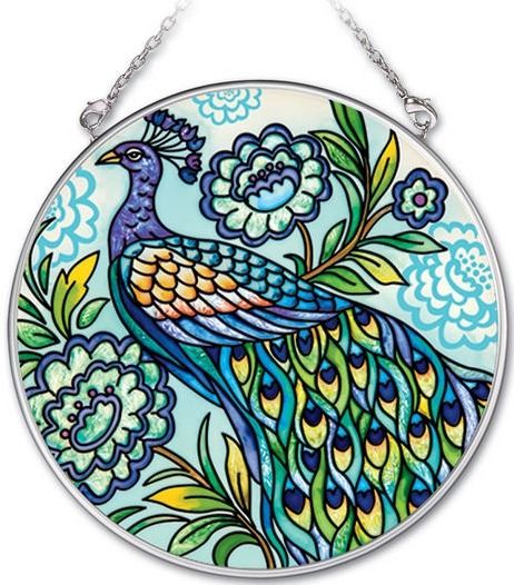 Amia 41919 Decorative Peacock Medium Circle Suncatcher