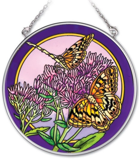 Amia 41927 Variegated Fritillaries Medium Circle Suncatcher