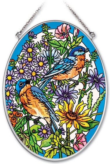 Amia 41934 Bluebirds Medium Oval Suncatcher