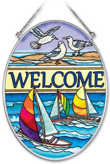 Amia 41940 Seaside Welcome Medium Oval Suncatcher