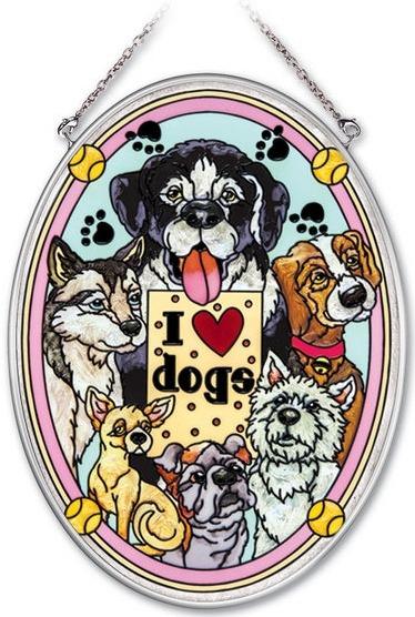 Amia 41944 I Love Dogs Medium Oval Suncatcher