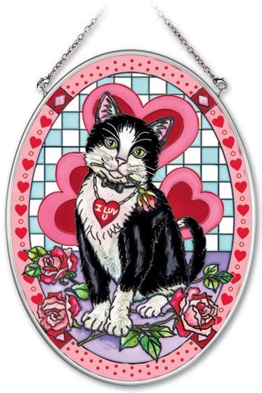 Amia 41947 Tuxedo Valentine Medium Oval Suncatcher