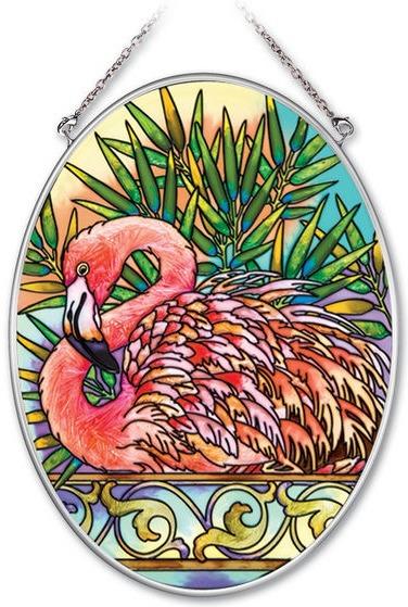 Amia 41948 Tropical Flamingo Medium Oval Suncatcher