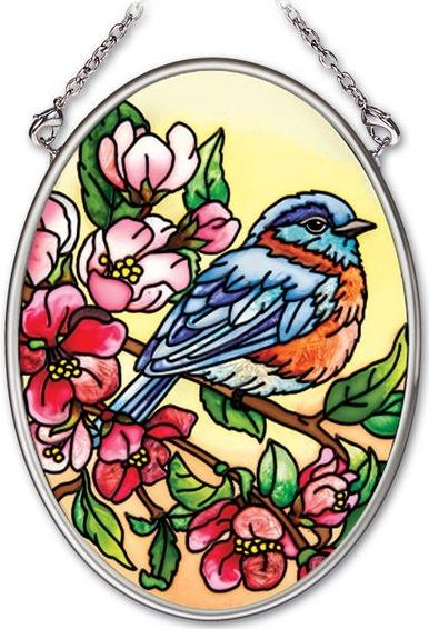 Amia 41963i Birds & Blossoms Small Oval Suncatcher