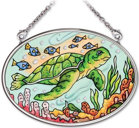 Amia 41972 Aquatic Stamp Turtle Small Oval Suncatcher
