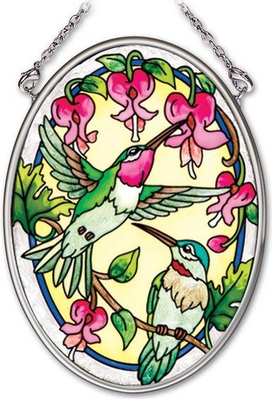 Amia 41975 Traditional Hummingbirds Small Oval Suncatcher