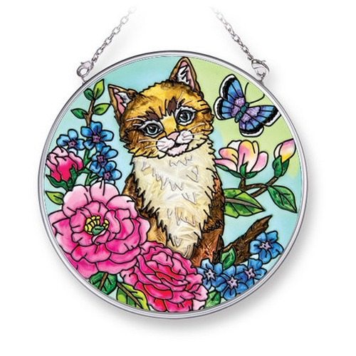 Amia 42069 Here Kitty Kitty Medium Circle Suncatcher