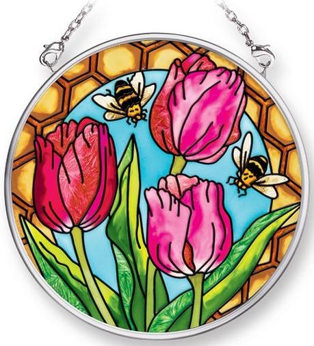 Amia 42074 Tulips & Bees Small Circle Suncatcher