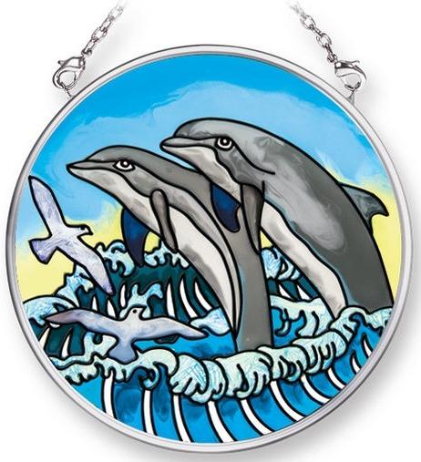 Amia 42083 Dolphins Small Circle Suncatcher