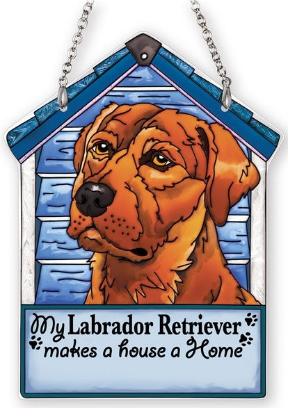 Amia 42104 Brown Labrador Retriever Doghouse Suncatcher