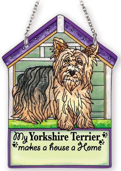 Amia 42113 Yorkie Yorkshire Terrier Doghouse Suncatcher Glass  $16.99