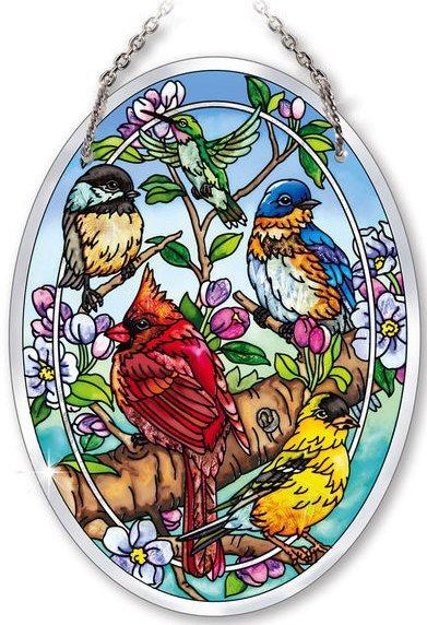 Amia 42134 Birds & Blossoms Medium Oval Suncatcher