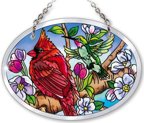 Amia 42135 Birds and Blossoms Small Oval Suncatcher