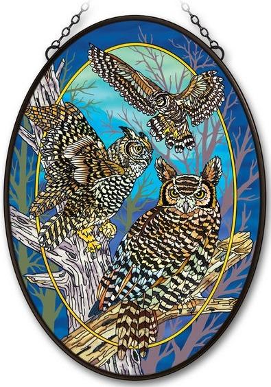 Amia 42204 Owls Jumbo Oval Suncatcher