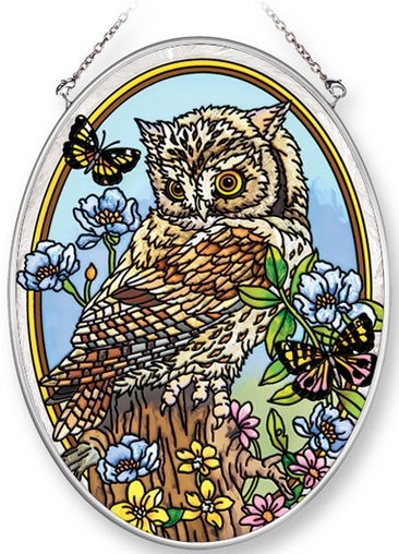 Amia 42222 Young But Wise Owlet Medium Oval Suncatcher
