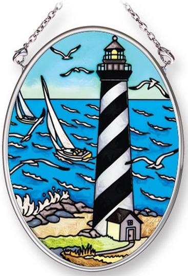 Amia 42244 Island Lighthouse 2 Small Oval Suncatcher