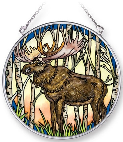 Amia 42281 Into The Woods Moose Medium Circle Suncatcher