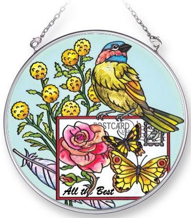 Amia 42287 Botanical Bird Medium Circle Suncatcher