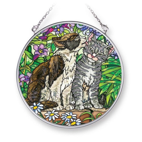 Amia 42292i Garden Secret Cat Medium Circle Suncatcher