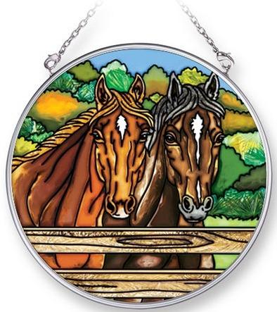 Amia 42294 Fenced Horses Medium Circle Suncatcher