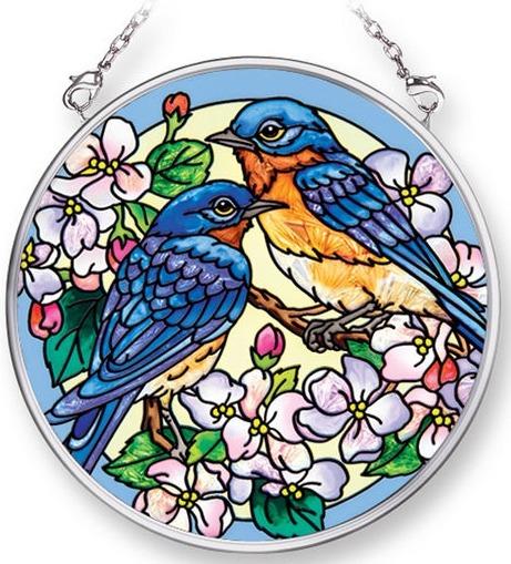 Amia 42299 Blossoms & Bluebirds Small Circle Suncatcher