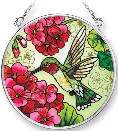 Amia 42302 Hummingbird and Red Geraniums Small Circle Suncatcher
