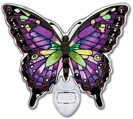 Amia 42316 Purple Swallowtail Water Cut Night Light Nightlight