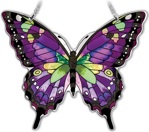 Amia 42326 Purple Swallowtail Large Water Cut Suncatcher