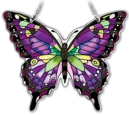 Amia 42327 Purple Swallowtail Medium Water Cut Suncatcher
