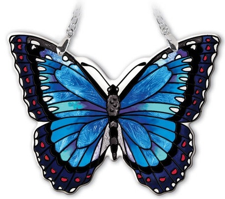 Amia 42334 Blue Morpho Small Water Cut Suncatcher