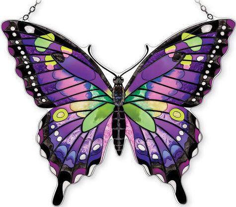 Amia 42342 Purple Swallowtail Jumbo Water Cut Suncatcher