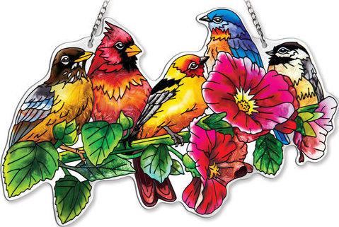 Amia 42354 Songbirds on Hollyhock Large Water Cut Suncatcher