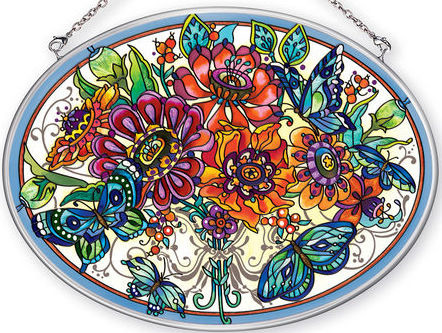 Amia 42355 Frilly Floral Large Oval Suncatcher