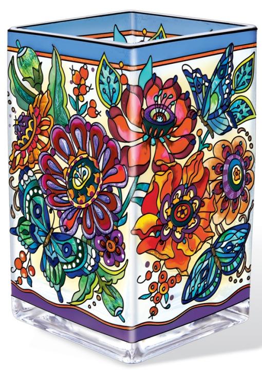 Amia 42358 Frilly Floral Rectangular Vase Votive Holder