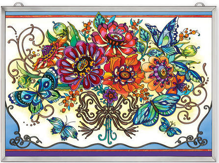 Amia 42362 Frilly Floral Window Panel