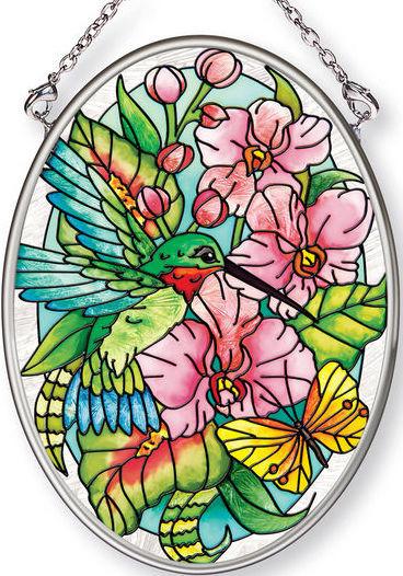 Amia 42379 Hummingbirds Orchard Small Oval Suncatcher