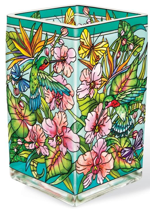 Amia 42380 Hummingbirds Orchard Rectangular Vase Votive Holder